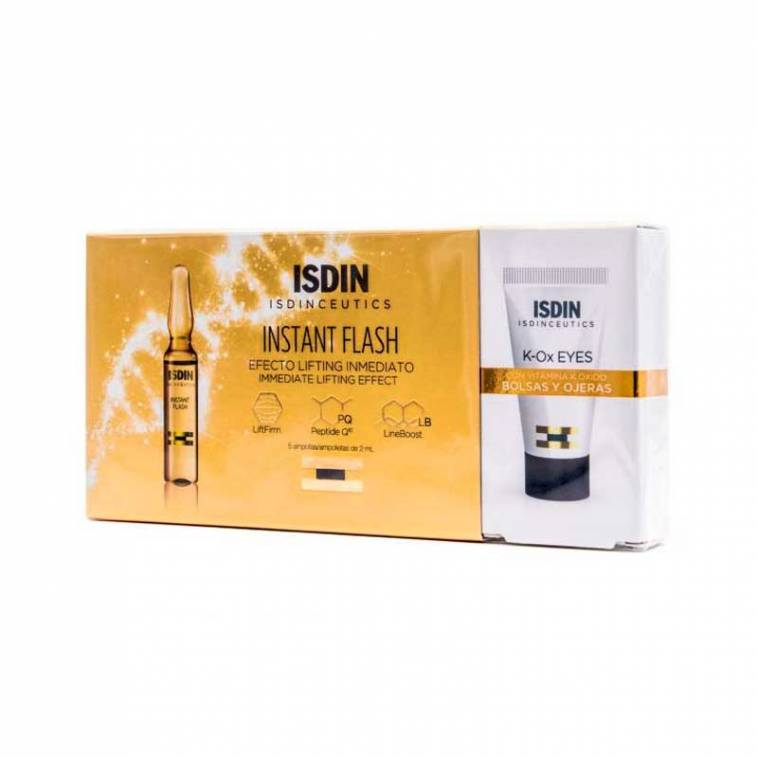 Instant Flash Isdin 5 Ampollas+ Regalo K-OX Eyes Cream Isdinceutics